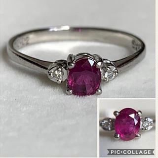 ルビー ダイヤモンド プラチナ 華奢なリング(リング(指輪))