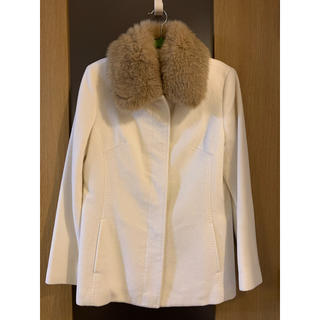 ケティ(ketty)のKETTYファー付きコート  11号  オフホワイト 美品 アンゴラ60% 軽量(テーラードジャケット)