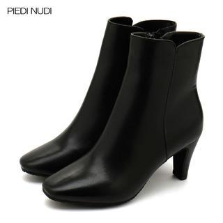 レディース 本革ショートブーツ 23.5cm ブラック 黒 美脚 7cmヒール(ブーツ)