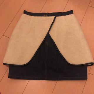 トーガ(TOGA)のTOGA PULLA ボア付 デニムスカート(ミニスカート)