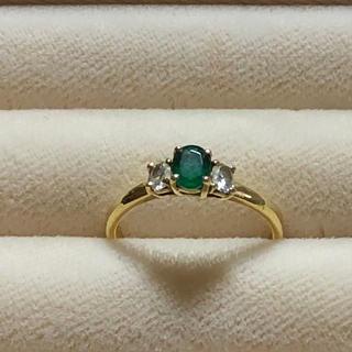 クィーンジュエリー k18  天然エメラルド+天然ダイヤモンド リング(リング(指輪))