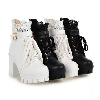 ブーツレースアップ靴女性カジュアルシューズ(ブーツ)
