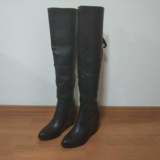 SPIRALGIRL ニーハイブーツ ロングブーツ 黒(ブーツ)