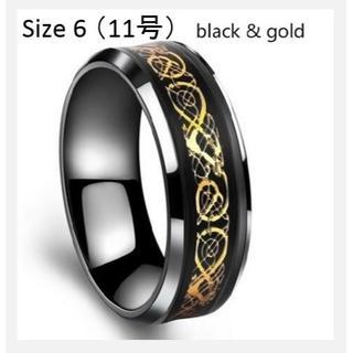 【送料無料】 (海外サイズ6, 目安11号) 黒金 指輪 メンズ リング(リング(指輪))