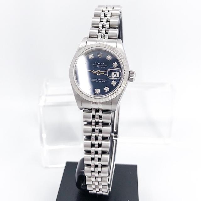 コメ 兵 ロレックス レディース / ROLEX - 【仕上済】ロレックス 10P 新ダイヤ ネイビー文字盤 シルバー 腕時計の通販 by LMC