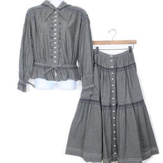 ピンクハウス(PINK HOUSE)のピンクハウス❤️ スモッキング刺繍フード付きダンガリーブラウスとスカートのセット(セット/コーデ)