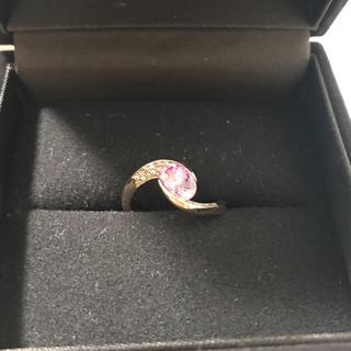 新春処分セール ③大粒 パパラチアサファイア ダイヤモンドリング(リング(指輪))