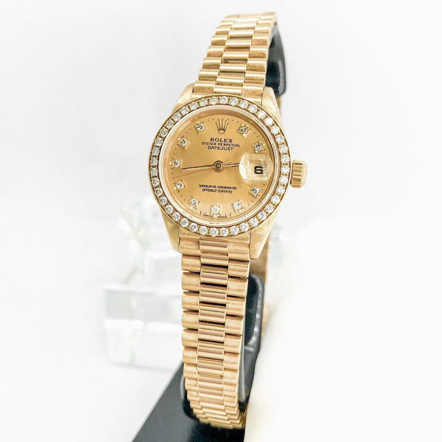 ROLEX - 【仕上済】ロレックス 10P ベゼル純正ダイヤ 金無垢 レディース 腕時計の通販 by LMC