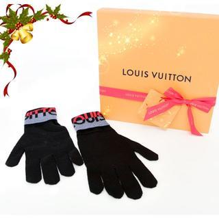 ルイヴィトン(LOUIS VUITTON)の新品♡ルイヴィトン ゴンLVホライゾンニットグローブ♡ウール ブラック黒伸縮手袋(手袋)