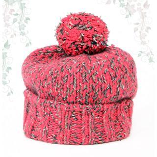 エルメス(Hermes)の未使用♡エルメス ポンポンニット帽子♡カシミアウール レッド赤 毛糸 ボンボン(ニット帽/ビーニー)