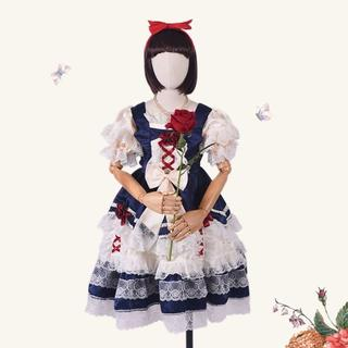 ワンピース 服 ロリータ ロング 女の子 ディズニー 白雪姫 多層レース (ワンピース)