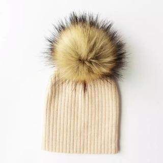 ザラキッズ(ZARA KIDS)のベビー キッズ フェイクファーニット帽 ライトベージュ(帽子)