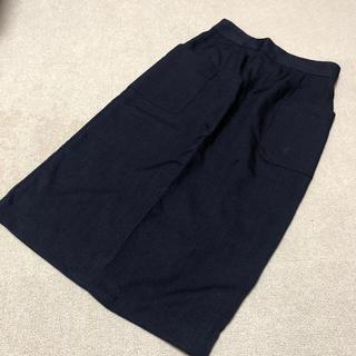 ワールドベーシック(WORLD BASIC)の大人めタイトスカート(ネイビー)(ひざ丈スカート)