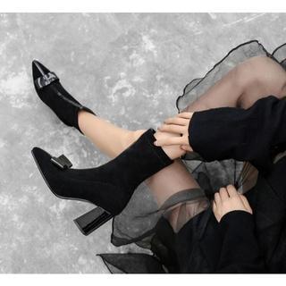 ショートブーツ ストレッチ素材 ポインテッドトゥ ブラック 23.5㎝(ブーツ)