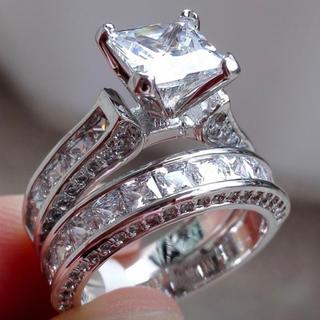 2ピース ハイクオリティ レディースホワイトサファイアリング 指輪ジュエリー(リング(指輪))