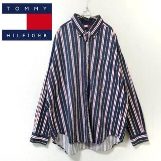 トミーヒルフィガー(TOMMY HILFIGER)の90s TOMMY HILFIGER マルチカラー ストライプ シャツ XL(シャツ)