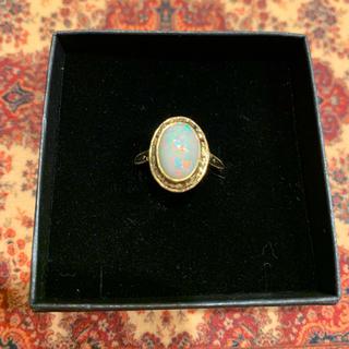 ホワイトオパールの和彫リング(リング(指輪))