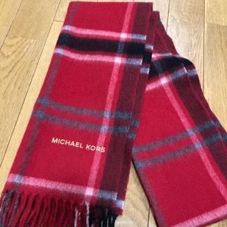 マイケルコース(Michael Kors)のマイケルコースMICHAEL KORS カシミヤ100% マフラー (赤×黒)(マフラー/ショール)