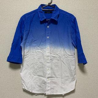 レイジブルー(RAGEBLUE)のRAGEBLUE グラデーションシャツ5分袖 ブルー/ホワイト Mサイズ(シャツ)