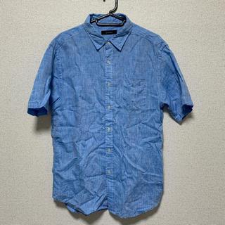 レイジブルー(RAGEBLUE)のRAGEBLUE 100リネンシャツ半袖 ライトブルー Lサイズ(シャツ)