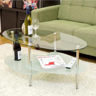 最安値!FLORAガラスセンターテーブル(ローテーブル)