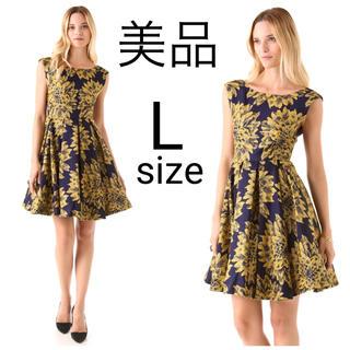 アリスアンドオリビア(Alice+Olivia)の美品 alice+olivia フローラルジャガード ワンピース ドレス(ひざ丈ワンピース)