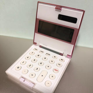 折りたたみ ソーラー 電卓 ピンク
