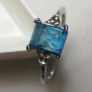 ブルージルコンカラー ファッションスクエアリング(リング(指輪))