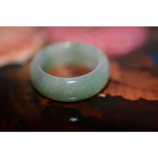 154-15 広幅 14.5号 天然 A貨 翡翠リング 硬玉ジェダイト(リング(指輪))