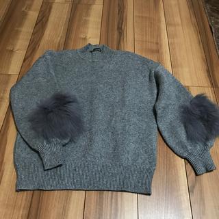 美品‼️ハイネック袖ファーセーター(ニット/セーター)