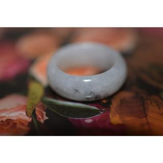 154-17 広幅 14.5号 天然 A貨 翡翠リング  硬玉ジェダイト(リング(指輪))