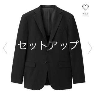 ジーユー(GU)のジーユー メンズ スーツ セットアップ 新品 ブラック(セットアップ)