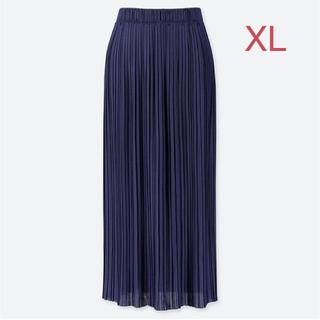 ユニクロ(UNIQLO)のユニクロ ランダムプリーツ ロングスカート XLサイズ/ブルー 新品タグ付き!(ロングスカート)