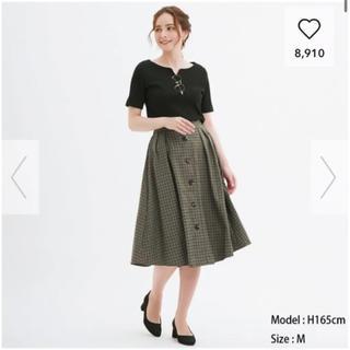 ジーユー(GU)のチェックスカート(ひざ丈スカート)