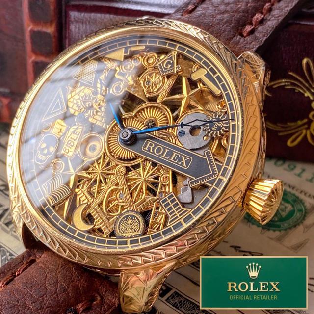 diesel ベルト スーパーコピー時計 | ROLEX - ROLEX ★ ロレックス 24KGP 彫金 フリーメイソン 希少 手巻き腕時計の通販 by A.LUNA