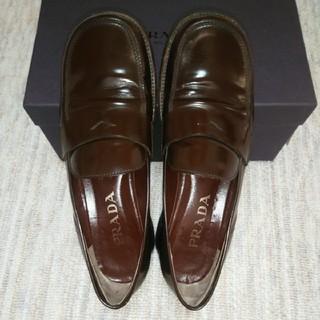 プラダ(PRADA)のプラダ PRADA 靴 ローファー レディース 37.5 ブラウン 24.5(ローファー/革靴)