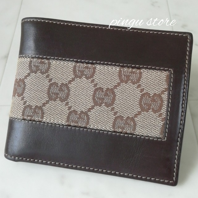 Gucci - 【美品 正規品】グッチ 二つ折り財布 キャンバス×レザーの通販 by ピングー☆'s shop