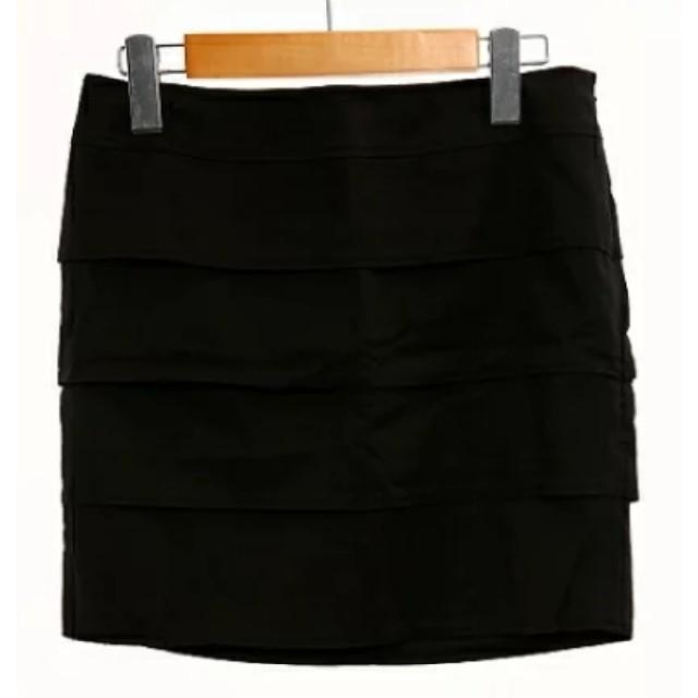 Pinky&Dianne(ピンキーアンドダイアン)のPINKY&DIANNE スカート ミニ ティアード 38 黒 ブラック   レディースのスカート(ミニスカート)の商品写真