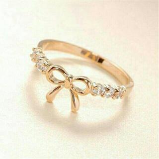 ラインストーン付き リボン リング 指輪♡ゴールド バレンタイン プレゼント(リング(指輪))