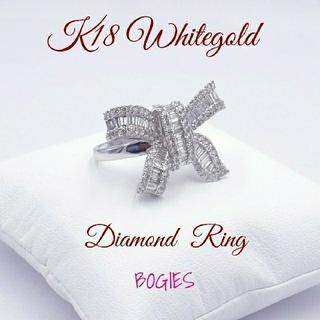 天然ダイヤ リング k18wg 指輪 トータル2ct リボン 新品 (リング(指輪))