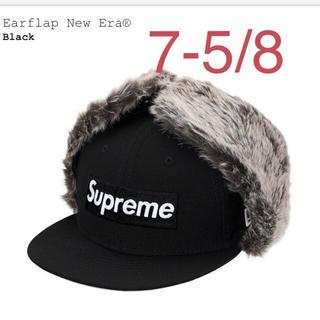 シュプリーム(Supreme)のSupreme Earflap New Era ブラック 7 5/8 60.6㎝(キャップ)