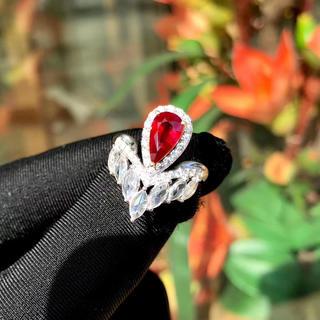 宝石鑑定書つき1.38ct天然ピジョンブラット高級ルビー指輪(リング(指輪))