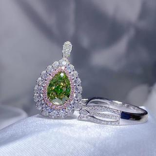 Gia♡2.01ctグリーンイエローダイヤモンド両用リング(リング(指輪))