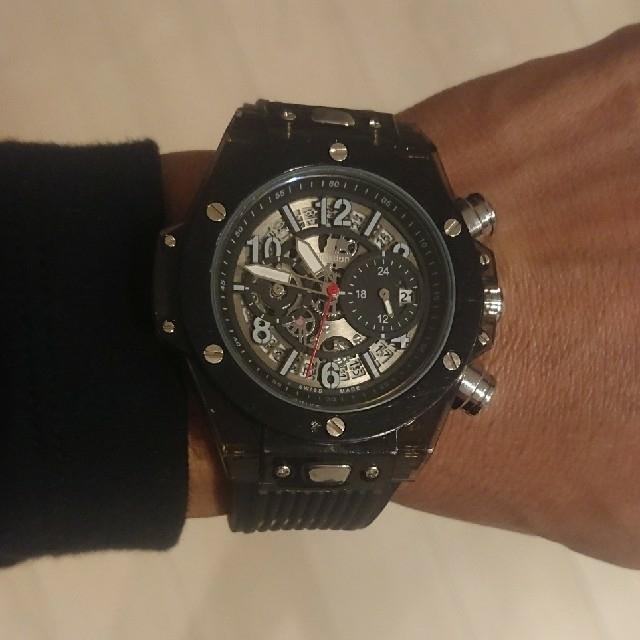 フランクミュラー偽物全品無料配送 | Kimsdun スケルトン クロノグラフ腕時計      ウブロビッグバンタイプの通販 by ロンパーマン's shop