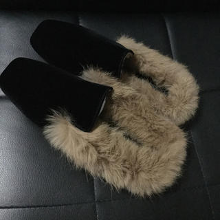 ▲残り1点▲   ベロア ファー フラットシューズ  ▶︎ブラック 23cm(ローファー/革靴)