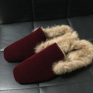 ▲残り1点▲ ベロア ファー フラットシューズ  ▶︎レッド 23cm(ローファー/革靴)