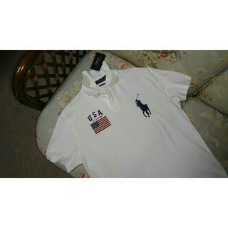 ラルフローレン(Ralph Lauren)の新品☆ラルフローレン ビッグポニーポロシャツ US L 白 USA(Tシャツ/カットソー(半袖/袖なし))