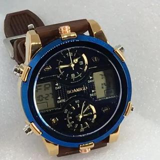 美麗 高級デジアナ デュアルディスプレイ&トリプルムーブメント ブラウン×ブルー(腕時計(デジタル))