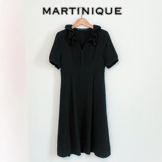 マルティニークルコント(martinique Le Conte)のmartinique◆シフォン ワンピース ブラック 半袖 結婚式 二次会 美品(ひざ丈ワンピース)