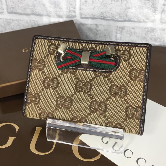 Gucci - 超美品✨GUCCI キャンバス パスケース シェリーライン リボン カードケースの通販 by ☆りんごぱい☆'s shop